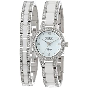 Armitron Women's 75/5056WTSVST Silver-Tone, White Ceramic, and Swarovski Crystal Watch and Bracelet Set