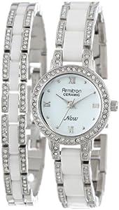 Armitron Women's 75/5056WTSVST Silver-Tone, White Ceramic, and Swarovski Crystal Watch and Bracelet Set