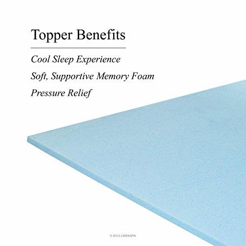 LINENSPA 1 Inch Gel Infused Memory Foam Mattress Topper natural latex mattress comfort revolution hydraluxe gel memory foam mattress
