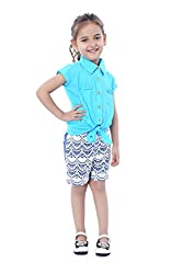 Girls Blue Tie Knot top with Gold Buttons