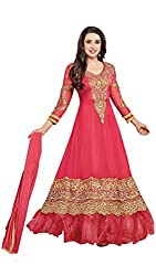 Maxthon Fashion Women's Pink Georgette Embroidery Anarkali Unstitched Free Size XXL Salwar Suit Dress Material (Women's Indian Clothing 2106 )