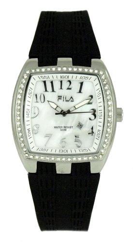 Fila Cronochic 641230 - Reloj analógico de mujer de cuarzo con correa de silicona negra