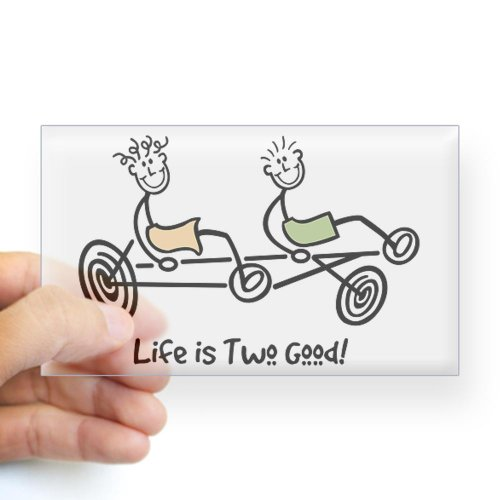 Tandem recumbent rider's Rectangle Sticker Sticker Rectangle by CafePress - Clear
