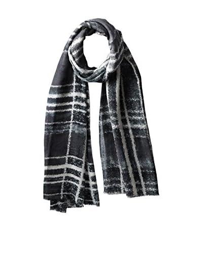 Bindya Women's Tan More Plaids Cashmere Silk Scarf, Black/White