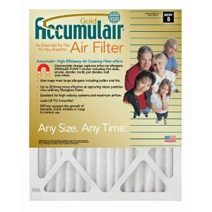 23x25x1 (Actual Size) Accumulair Gold 1-Inch Filter (MERV 8) (6 Pack)