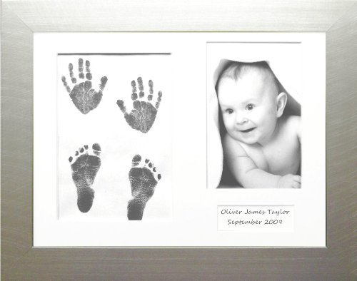 Anika-Baby BabyRice Baby Hand and Footprints Kit Includes Black Inkless Prints//White Frame with Black Mount Display
