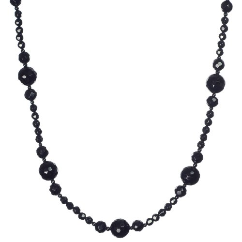 Faceted Black Onyx and Smooth Mini Beaded Necklace, 40