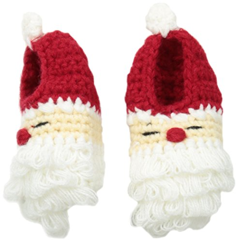 Mud Pie Unisex-Baby Crochet Santa Booties, Red, 0-6 Months front-584500
