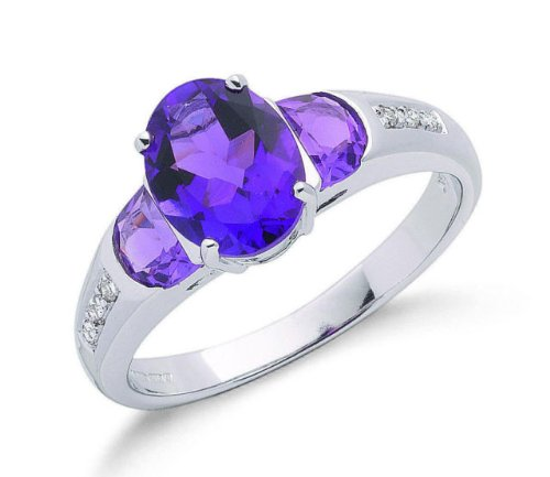 9ct White Gold Real Amethyst & Diamond Ring 2.34ctw