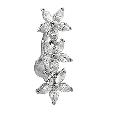 FreshTrends Cubic Zirconia Three Flowers Reverse Dangle 14KT White Gold Belly Bar Ring