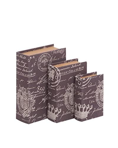 Set of 3 Purple Wood Fabric Book Boxes