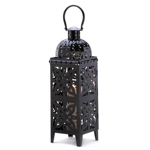 Gifts & Decor Giant Black Medallion Hanging Candle Lantern Holder