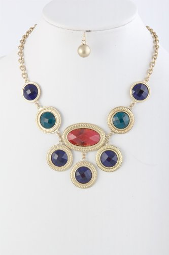 Karmas Canvas Acrylic Jewel Link Necklace (Navy/Red) front-1042856