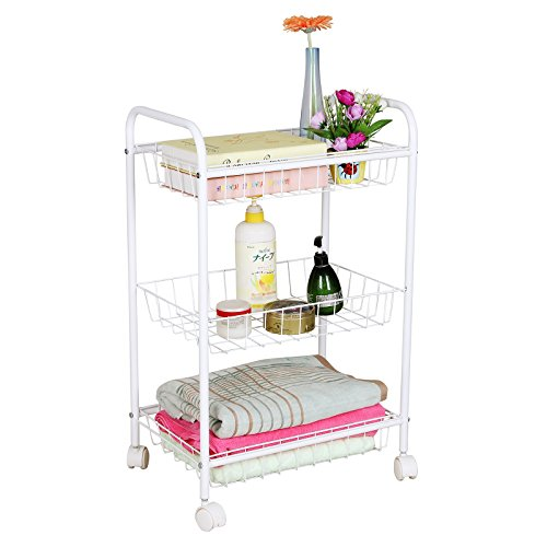 Songmics 3 Tiers Rolling Storage Cart With 2 Removable Baskets Kitchen Pantry Laundry Organizer