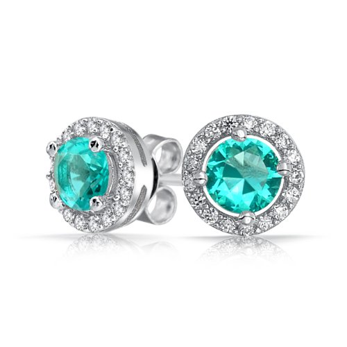 Bling Jewelry Aquamarine Color CZ Round Stud Earrings 925 Sterling Silver