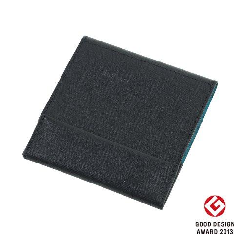 薄い財布 abrAsus(アブラサス)ブラック × ターコイズ