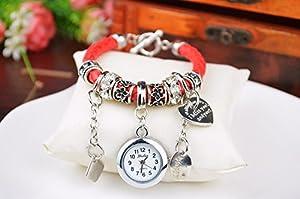 Fashion Women Ladies Heart Alloy Weave Rope Elegant Bracelet Quartz Jewelry Watch Red