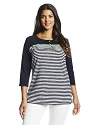 Jones New York Women's Plus-Size Three Quarter Sleeve Henley with Grosgrain