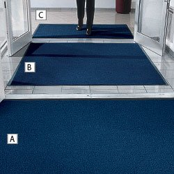 Notrax 231 Prelude Gray Non-Absorbent Fiber Entrance Matting (Specialty) with Vinyl Backing, 5' L x 3' W, For Outdoor and Heavy Traffic Areas