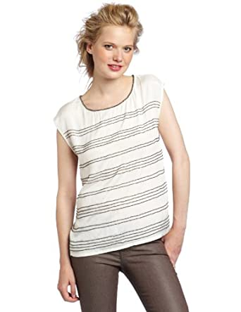 Willow & Clay Women's Beaded Striped Tank Top, Vellum, Small