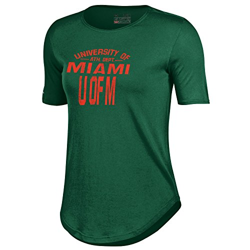NCAA Miami Hurricanes Women's 60 40 Tee, Dark Green, Medium