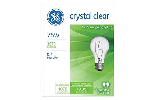24 Pak GE 97468-24 75-Watt A19 Crystal Clear Light Bulbs Decorative Incandescent ;P#O455K5/U 7RK-B256694 (75 Watt Lightbulbs compare prices)