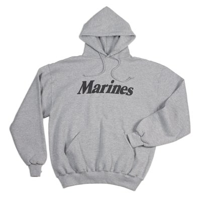 Grey Marines Physical Training Hooded Pullover Sweatshirt