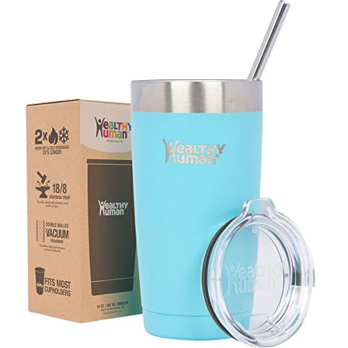 Healthy Human 20 oz Cruiser - Keeps Hot & Cold Beverages 2X's Longer. Insulated Stainless Steel Tumbler Cup with Lid & Straw. Glacier
