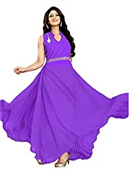 Clickedia Women's Georgette 0 Gown(Purple gown)