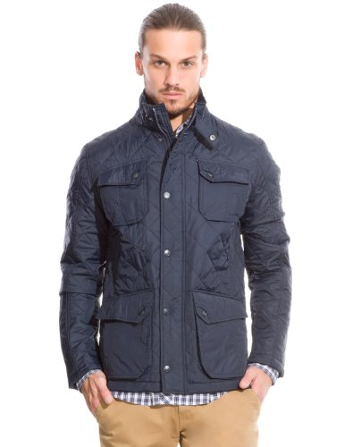 Springfield Men's Quilted Nylon Parka with Four pockets, Elbow Patches and Corduroy Collar Detail, L, navy