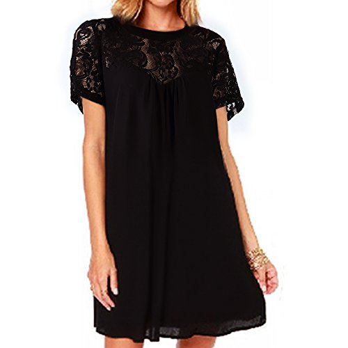 Vanberfia Women's Lace Short Sleeve Loose Casual Chiffon Dress (M, 7880)