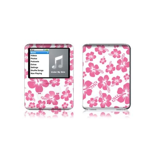 Pink Hibiscus Design Protective Decal Skin Sticker for Apple iPod nano 3G (3rd Generation) 4GB/ 8GB Player