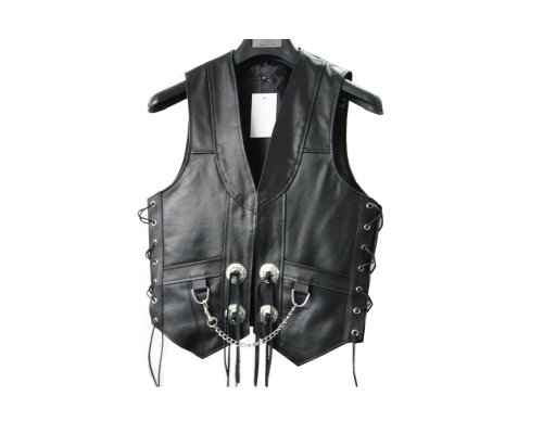 "Mens Leather Chain Concho Motorcycle Biker Vest lll-304 (Medium (Chest 40""))"