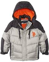 U.S. Polo Association Little Boys' Color Block Puffer Jacket with Fleece Lining