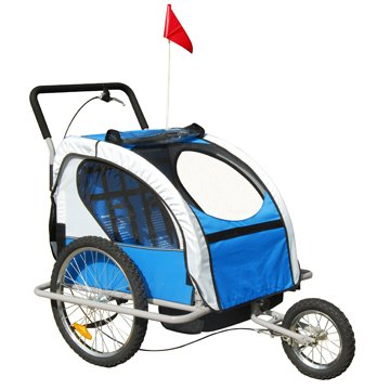 Aosom 2in1 Double Baby Bike Trailer / Stroller - Blue / Gray
