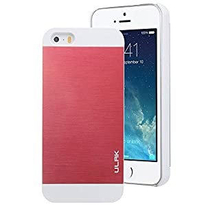 iPhone 5S Case, Pandamimi ULAK Brushed Steel Aluminum Chrome Case for iPhone 5S 5 (White+Red)