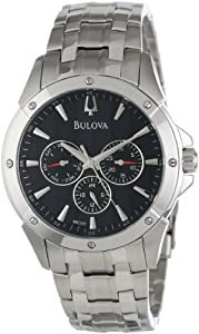 Bulova Men's 96C107 Black Dial Bracelet Watch