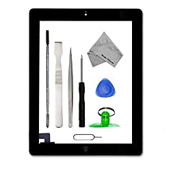 IPAD 2 BLACK Digitizer Touch Screen Front Display Assembly Incl Home Button flex Camera Holder Pre Installed Adhesive Stickers and Tool kit