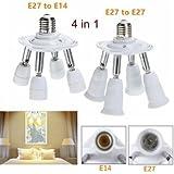 4 In 1 E27 Flexible Holder Socket Splitter Light Lamp Bulb Adapter Converter-B