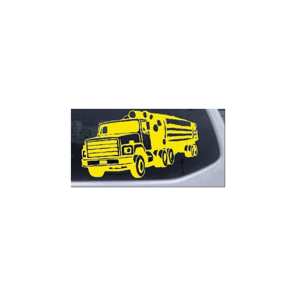 Yellow 12in X 6.9in    Logging Truck Business Car Window Wall Laptop Decal Sticker