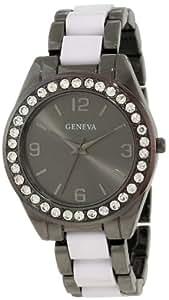 Geneva Moderate Women's AMZ1033 Multi-Bezel Gunmetal Link Bracelet Watch