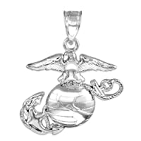 925 Sterling Silver Medium Patriot Charm US Marine Corps Military Pendant by Claddagh Gold