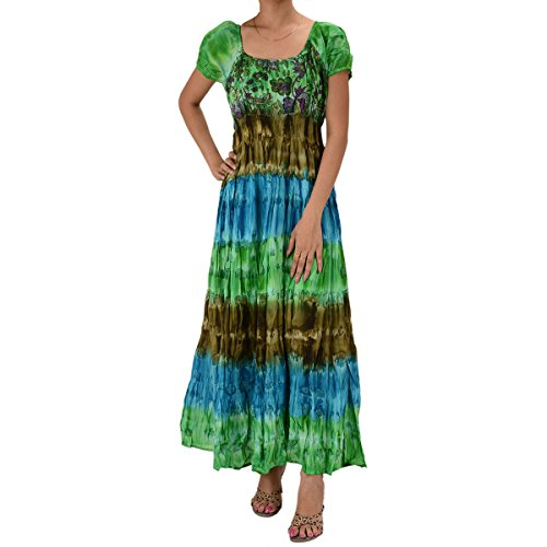 Skirts & Scarves Cotton Tie Dye Printed Dress For Women (Blue & Green)