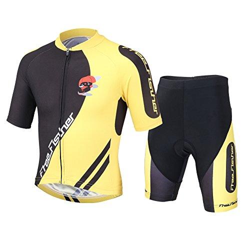 Free Fisher Unisex Bambino/ Bambina Sportiva Maglia e Pantaloncino Shorts Ciclismo Bicicletta