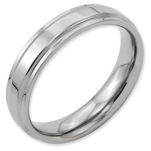 Titanium Ridged-Edge 5mm Polished Band Ring Size 4 Real Goldia Designer Perfect Jewelry Gift for Christmas