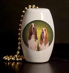 Basset Hound Pair Porcelain Fan / Light Pull