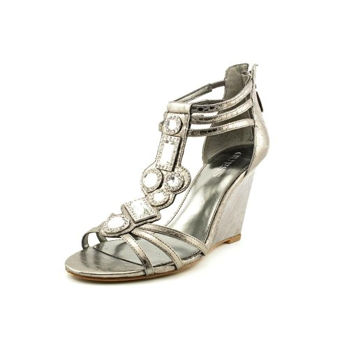 Guess Acimae 2 Womens Size 6.5 Silver Open Toe Leather Wedge Sandals Shoes front-997067