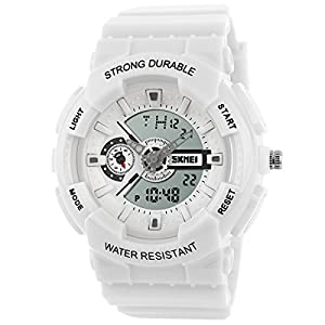 Panegy Outdoor Boys Girls Students Cool Digital Sport LED Quartz Alarm Stopwatch Chronograph Wrist Watch - White