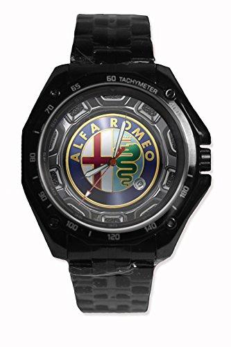 Alfa Romeo Car Logo Sport Watch Stainless Steel Black Alloy