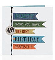 Coloured Flags 40 Male Age Birthday Card